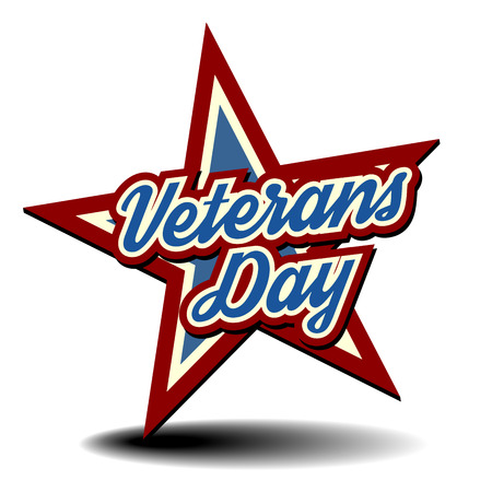 independance: detailed illustration of a patriotic star with Veterans Day text