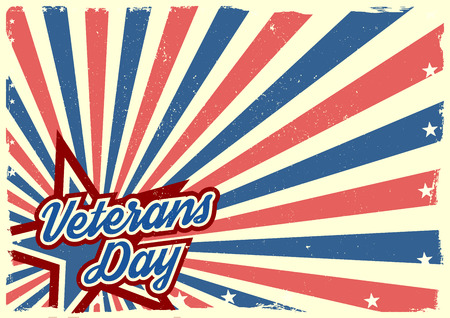 independance day: detailed illustration of a grungy stars and stripes backbround with Veterans Day text