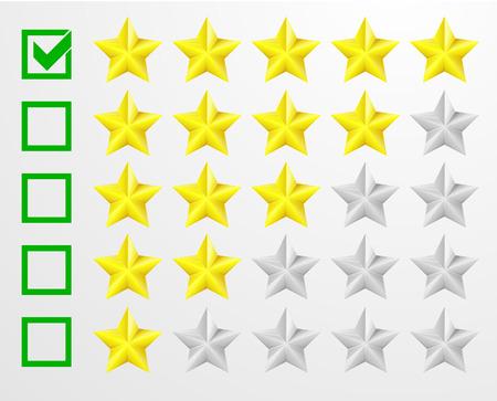 star rating: illustrazione dettagliata di un sistema di valutazione a cinque stelle