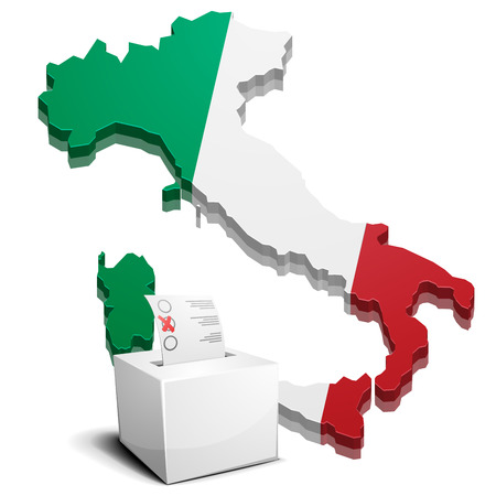 detailed illustration of a ballot box in front of a 3D map of Italy Ilustrace