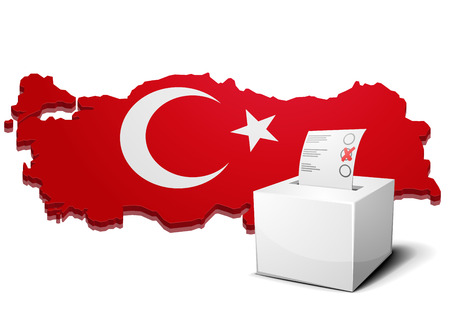 detailed illustration of a ballot box in front of a 3D map of turkey Vector