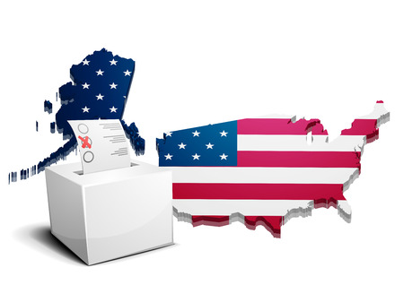 detailed illustration of a ballot box in front of a 3D map of the united states of america Vector