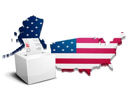 democrats: ilustraci�n detallada de una urna frente a un mapa en 3D de los estados unidos de am�rica Vectores