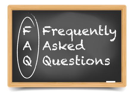 question mark: detaillierte Darstellung einer FAQ Begriff Erkl�rung auf einer Tafel, inklusive Verlaufsgitter
