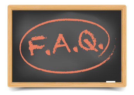 punctuation: detailed illustration of a FAQ term on a blackboard,  gradient mesh included