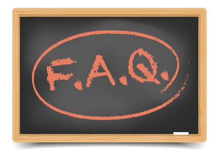 question mark: detaillierte Darstellung einer FAQ Begriff auf einer Tafel, inklusive Verlaufsgitter