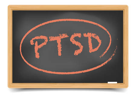 distressing: detailed illustration of a PTSD term on a blackboard, eps10 vector, gradient mesh included