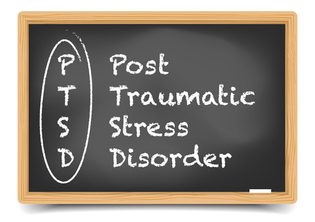 detailed illustration of a PTSD term explanation on a blackboard, eps10 vector, gradient mesh included Illustration
