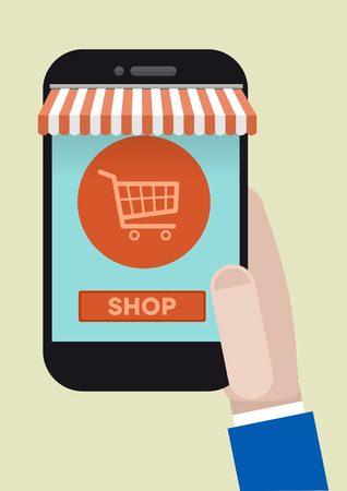 awnings: minimalistic illustration of hand holding a smartphone with awnings and dollar symbol Illustration