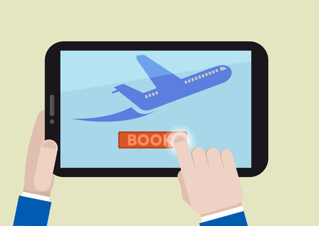 minimalistic illustration of booking a flight ticket on a mobile device Vector