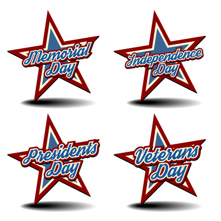 detailed illustration of a patriotic stars with national holidays text Vector