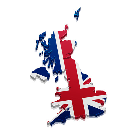 bandera de gran bretaña: ilustración detallada de un mapa 3D de Gran Bretaña