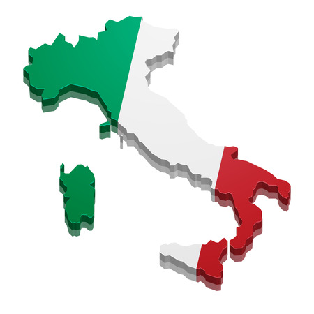 detailed illustration of a 3D Map of Italy