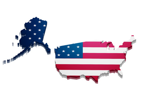 detailed illustration of a 3D Map of the United States of America Vector