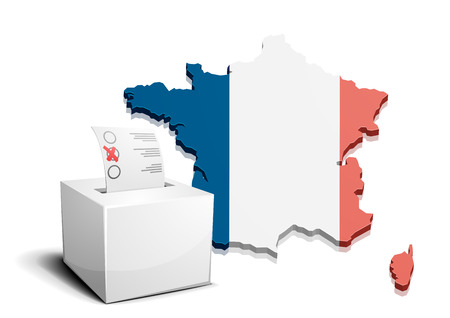 detailed illustration of a ballot box in front of a 3D map of France Vector