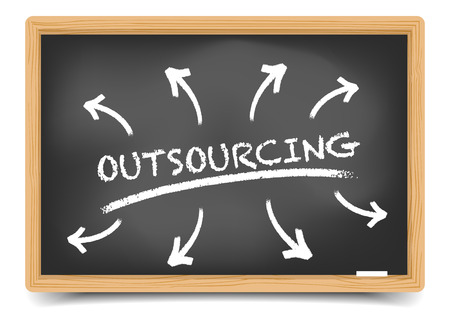 outsourcing: detailed illustration of a blackboard with an outsourcing sketch, gradient mesh included Illustration