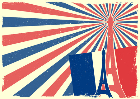 14th: detailed illustration of the Eiffel Tower in front of a grungy patriotic background