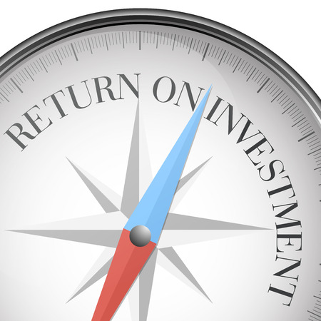 return: detailed illustration of a compass with return on investment text