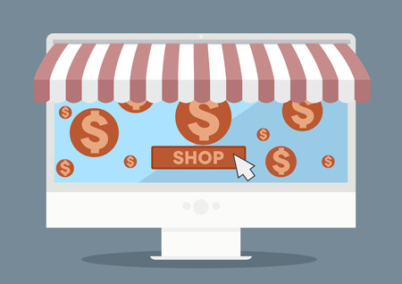 awnings: minimalistic illustration of a monitor with shop awnings and shopping cart symbols