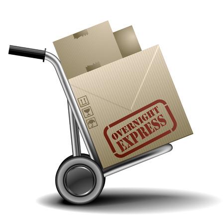 overnight: illustrazione dettagliata di un handtruck o carrello con cardboxes con etichetta pernottamento corriere espresso su di loro