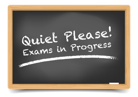 quiet: detailed illustration of a blackboard with a quiet please text     Illustration