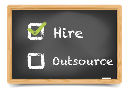 outsource: detailed illustration of different checkboxes with hire and outsource options on a blackboard   Illustration