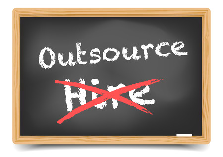 outsource: detailed illustration of hire and outsource options on a blackboard