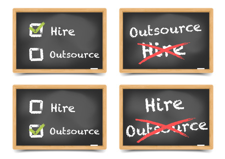 outsource: detailed illustration of different blackboards with hire or outsource options