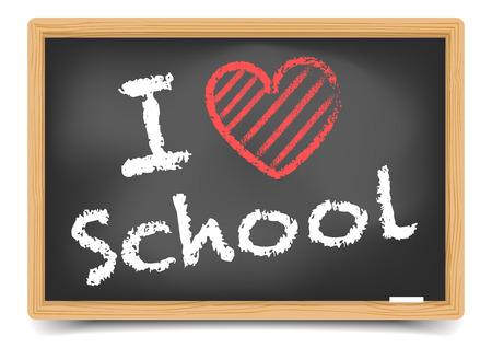 detailed illustration of a blackboard with a I love school text   Vector