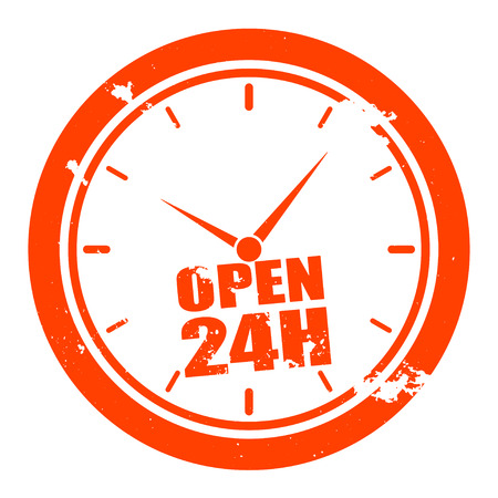 opening hours: detailed illustration of a clock with grunge elements and 24h text