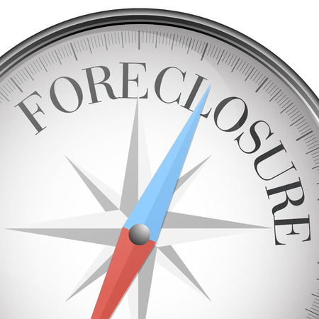 foreclosure: detailed illustration of a compass with foreclosure text