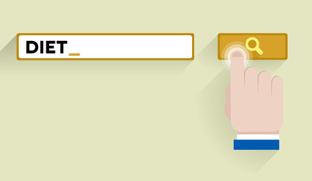minimalistic illustration of a search bar with diet keyword and hand over the button   Vector