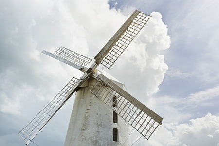 co  kerry: white Blenerville windmill in front of a cloudy sky in Tralee, Co. Kerry in Ireland