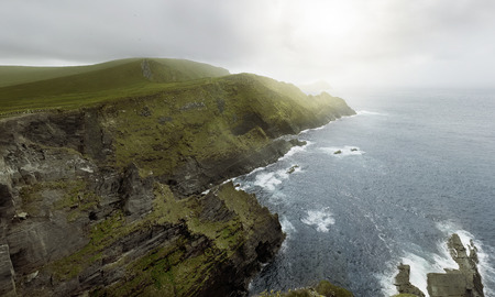 moher: panoramic view over the Cliffs of Kerry, Co. Kerry, Ireland