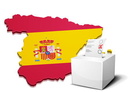 detailed illustration of a ballotbox in front of a 3D map of spain with flag, eps10 vector Vector
