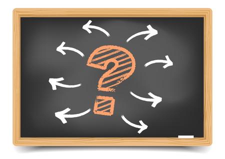 question mark: detaillierte Abbildung von einem Fragezeichen mit Pfeilen auf einer Tafel, enthalten eps10 Vektor, Verlaufsgitter