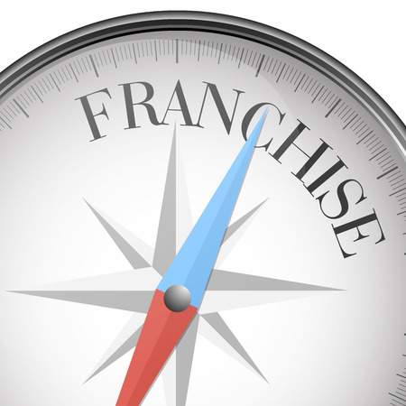 franchise: detailed illustration of a compass with Franchise text, eps10 vector Illustration