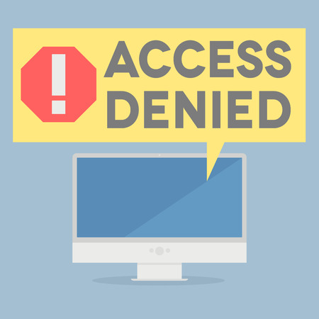 restricted access: minimalistic illustration of a monitor with an access denied speech bubble, eps10 vector