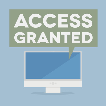 access granted: minimalistic illustration of a monitor with an access granted speech bubble, eps10 vector