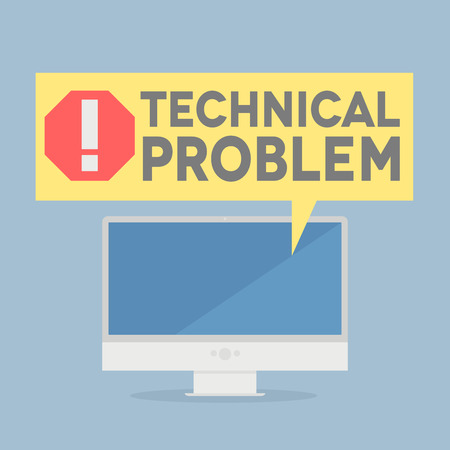 minimalistic illustration of a monitor with a technical problem speech bubble, eps10 vector Stock fotó - 29558440