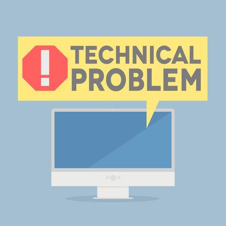 minimalistische illustratie van een monitor met een technisch probleem tekstballon, eps10 vector Stock Illustratie