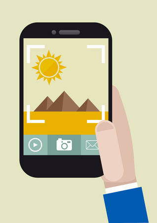 handy: minimalistic illustration of hand holding a smartphone taking a photo, eps10 vector