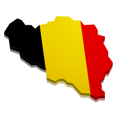 detailed illustration of a 3D map of belgium with flag, eps10 vector Vector