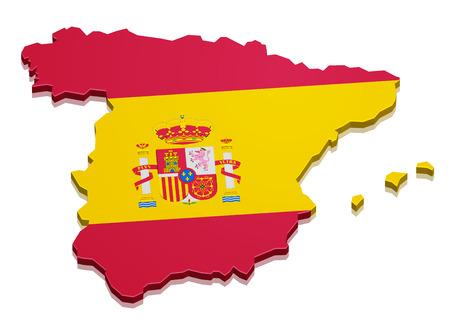 gedetailleerde illustratie van een 3D-kaart van Spanje met vlag, eps10 vector