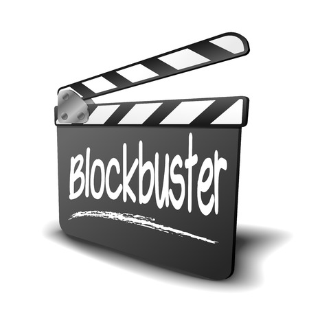 blockbuster: detailed illustration of a clapper board with Blockbuster term, symbol for film and video genre Illustration