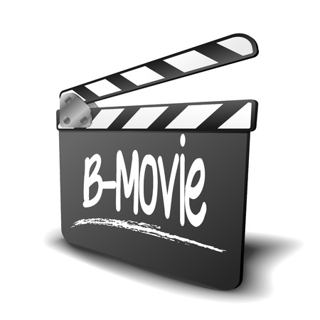 genre: detailed illustration of a clapper board with B-Movie term, symbol for film and video genre