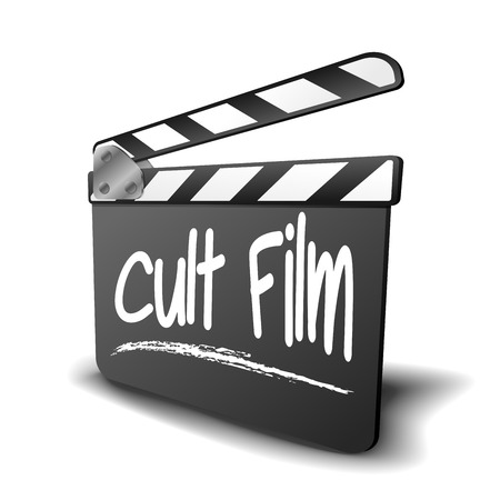 genre: detailed illustration of a clapper board with Cult Film term, symbol for film and video genre