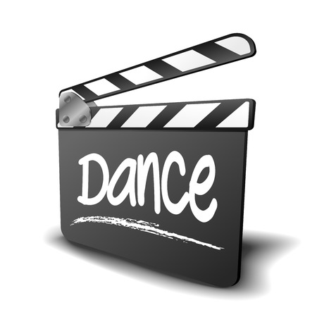 filmmaker: detailed illustration of a clapper board with Dance term, symbol for film and video genre