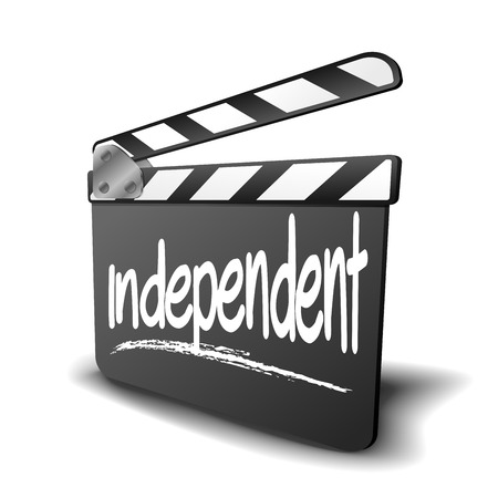 filmmaker: detailed illustration of a clapper board with independent term, symbol for film and video genre