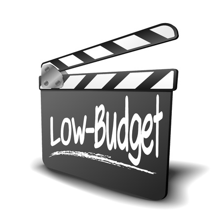genre: detailed illustration of a clapper board with Low-Budget term, symbol for film and video genre